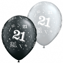 21st Black & Silver - 11 Inch Balloons 25pcs